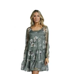 mönstrad klänning volang